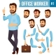 Office Worker Vector. Face Emotions, Various