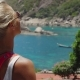 Tanned Sporty Female Enjoy Gorgeous View of Tanote Bay on Sunny Day. Light Ocean Breeze Ocean Breeze - VideoHive Item for Sale