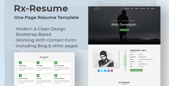 Rx-Resume  Bootstrap Onepage Parallax  Resume Template - Resume / CV Specialty Pages