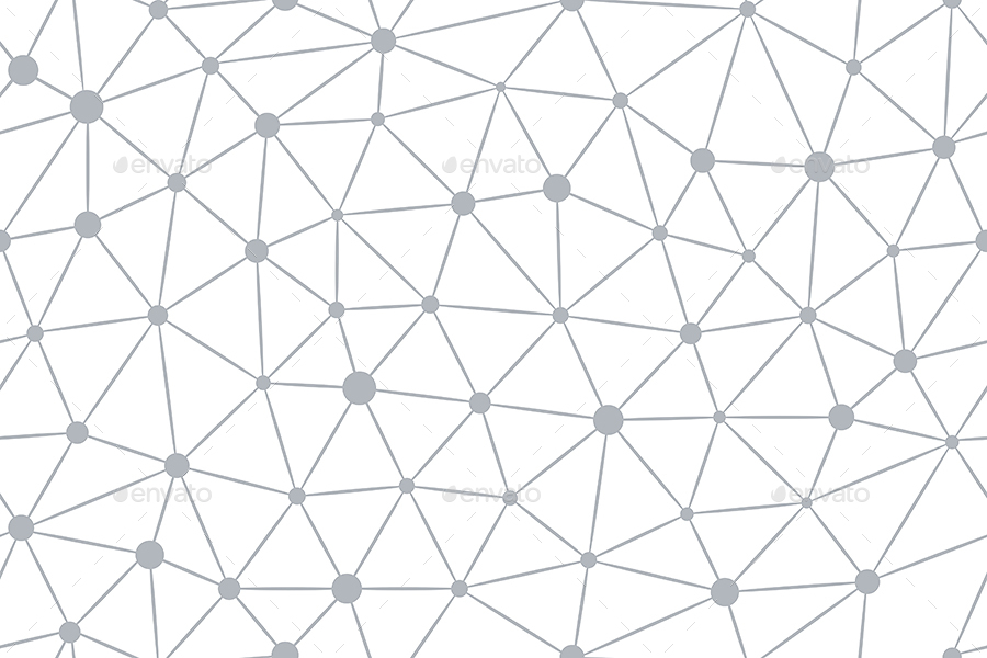geometric seamless patterns with connected lines and dots