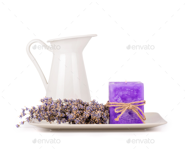 Lavender flowers and lavender candle - Stock Photo - Images