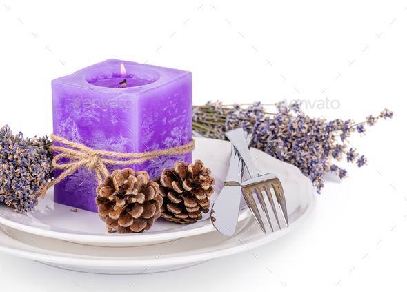 Lavender candle - Stock Photo - Images