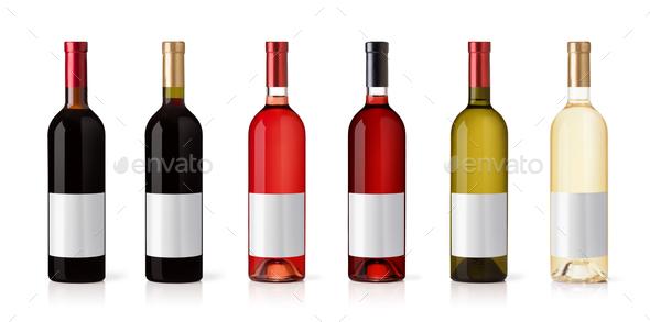 Set of Bottles isolated on white background - Stock Photo - Images