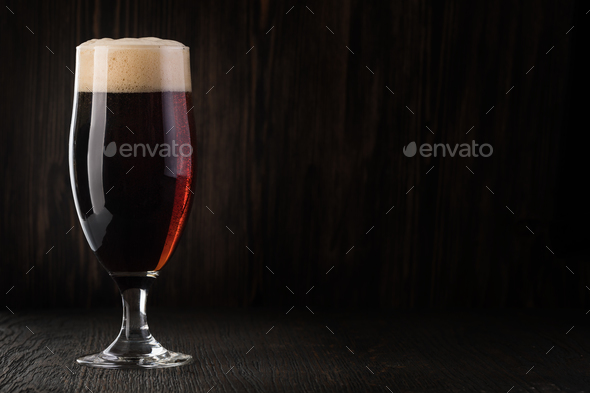 Glass beer on wood background - Stock Photo - Images