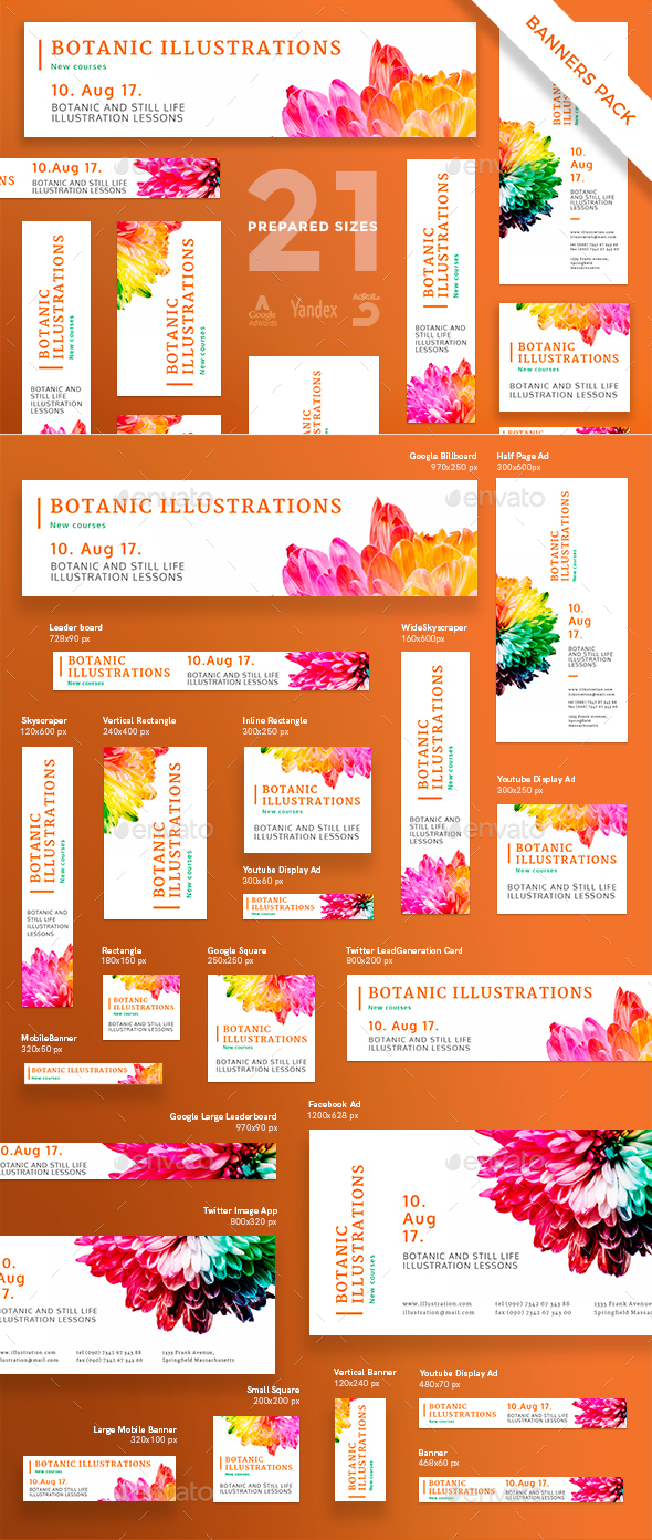 Botanic Illustrations Banner Pack - Banners & Ads Web Elements