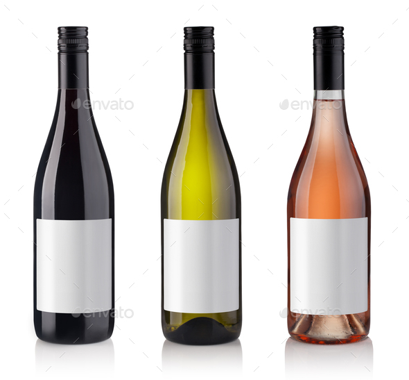 Set of Bottles isolated on white background - Stock Photo - Images