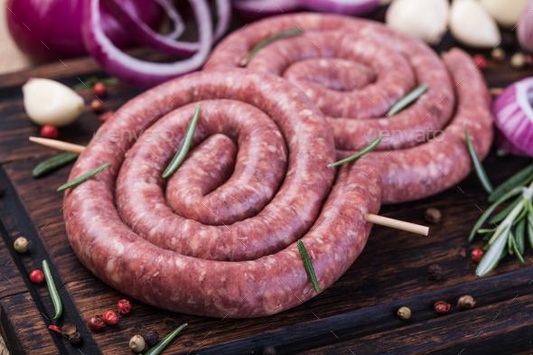 raw pork sausage - Stock Photo - Images