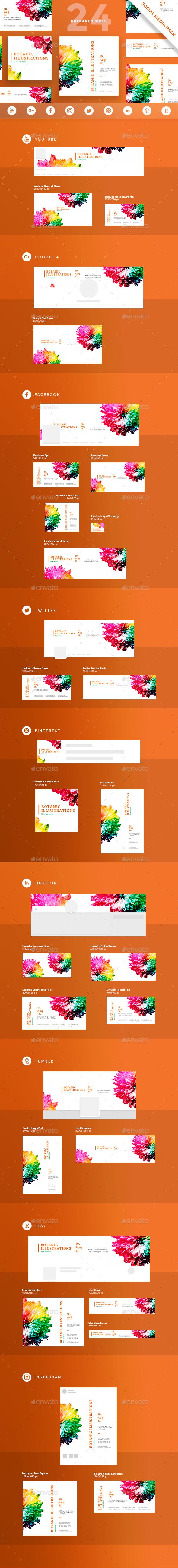 Botanic Illustrations Social Media Pack - Miscellaneous Social Media