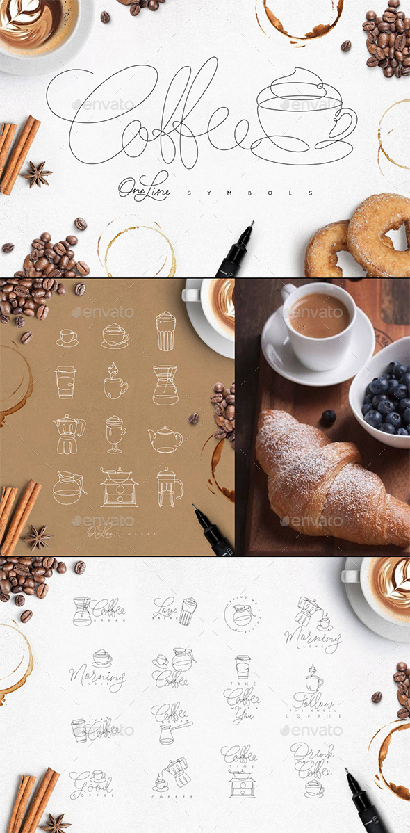 Coffee One Line Symbols - Badges & Stickers Web Elements