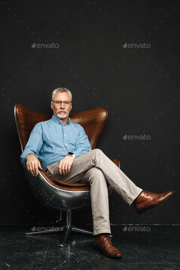 Full length photo of mature stylish man 60s with grey hair and b - Stock Photo - Images