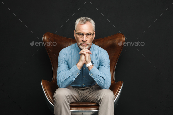 Portrait of businesslike gentleman 50s with grey hair and beard - Stock Photo - Images