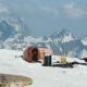 Orange Metal Barrel Tourist Shelter at Hight Mountain Picturesque Landscape - VideoHive Item for Sale