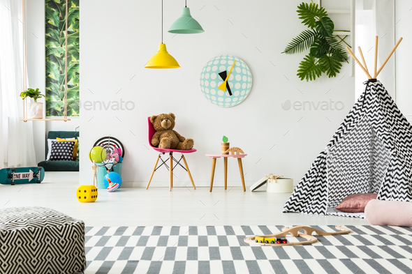 Patterned tent in kid's room - Stock Photo - Images