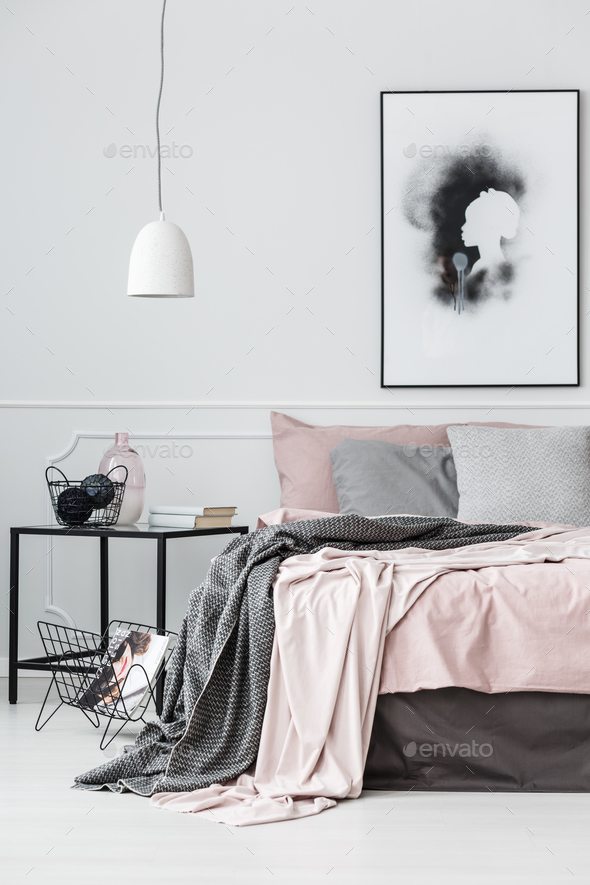 Poster in bright bedroom interior - Stock Photo - Images