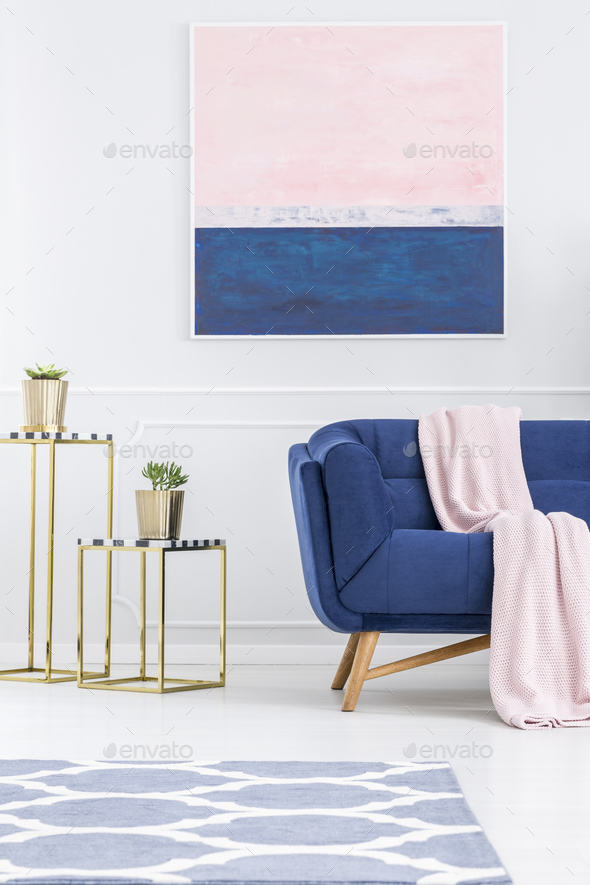 Pink and blue apartment interior - Stock Photo - Images
