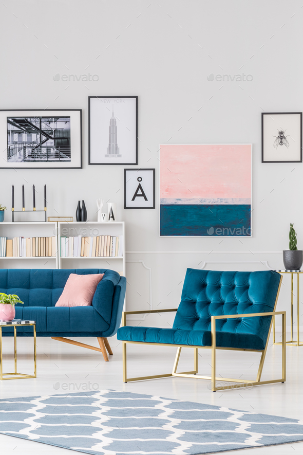 Navy blue living room interior - Stock Photo - Images