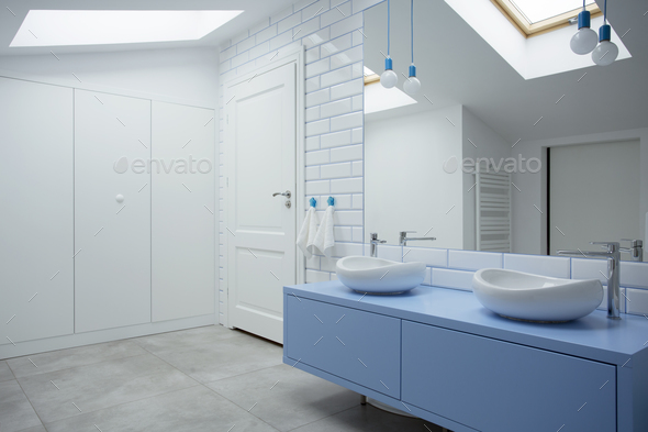 White and blue bathroom interior - Stock Photo - Images