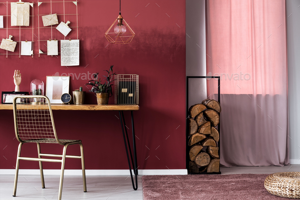 Pink woman's workspace interior - Stock Photo - Images