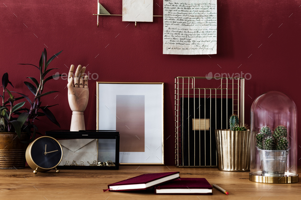 Gold workspace with red wall - Stock Photo - Images