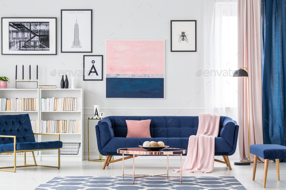 White and blue living room - Stock Photo - Images