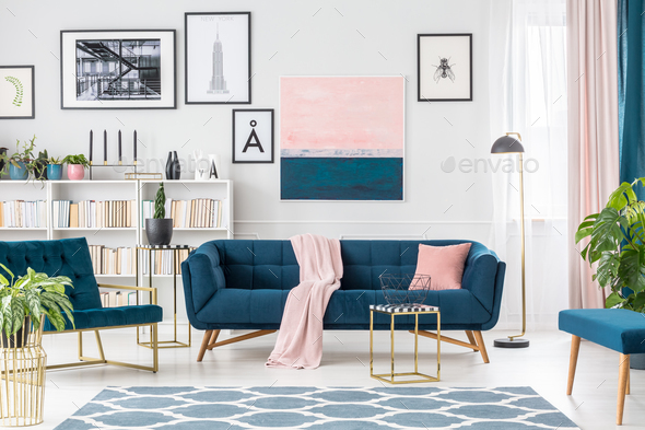 Pink and blue elegant interior - Stock Photo - Images