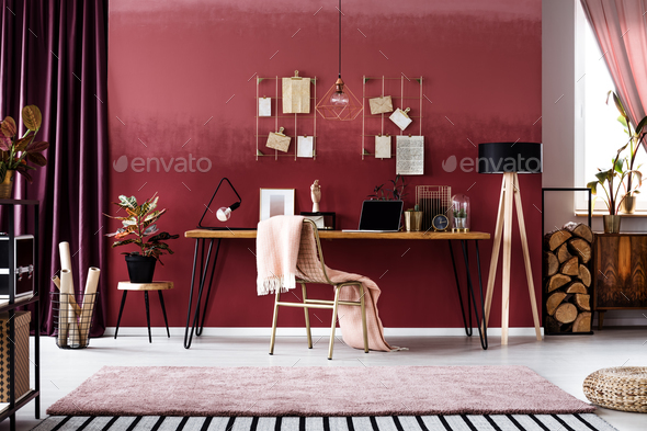 Cherry home office interior - Stock Photo - Images