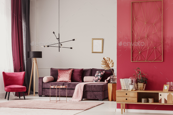 Red living room interior - Stock Photo - Images
