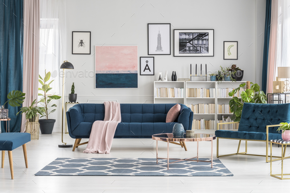 Pastel living room with gallery - Stock Photo - Images