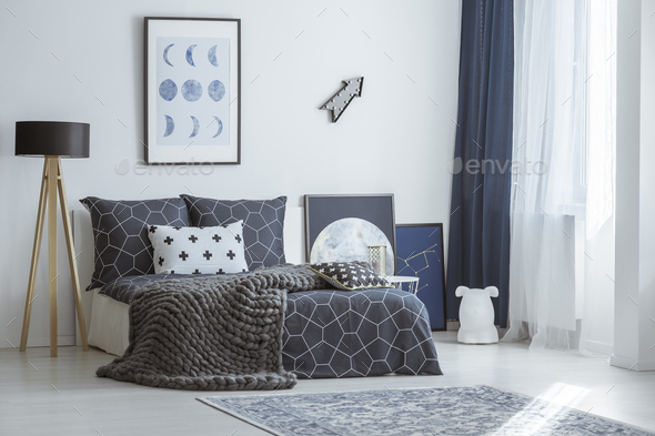 Arrow in bright bedroom interior - Stock Photo - Images