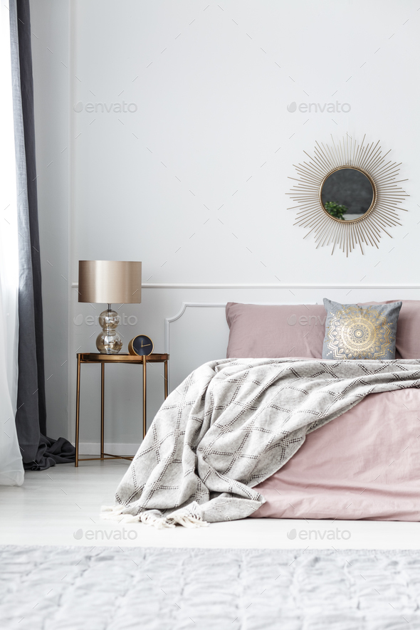Gold and pink bedroom interior - Stock Photo - Images