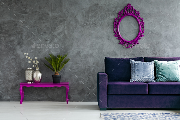 Front view of living room - Stock Photo - Images