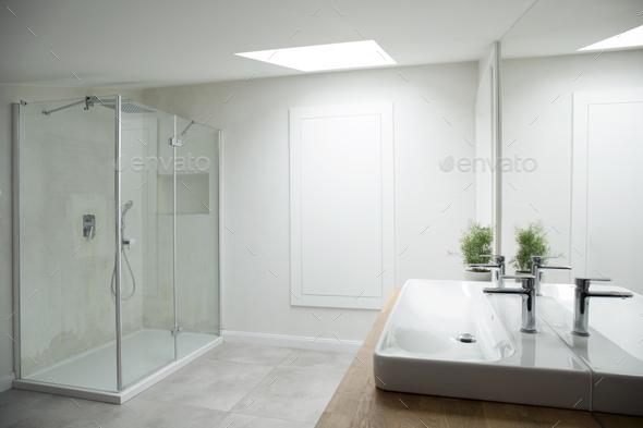 White bathroom interior with window - Stock Photo - Images