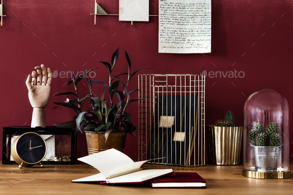 Work area with red wall - Stock Photo - Images
