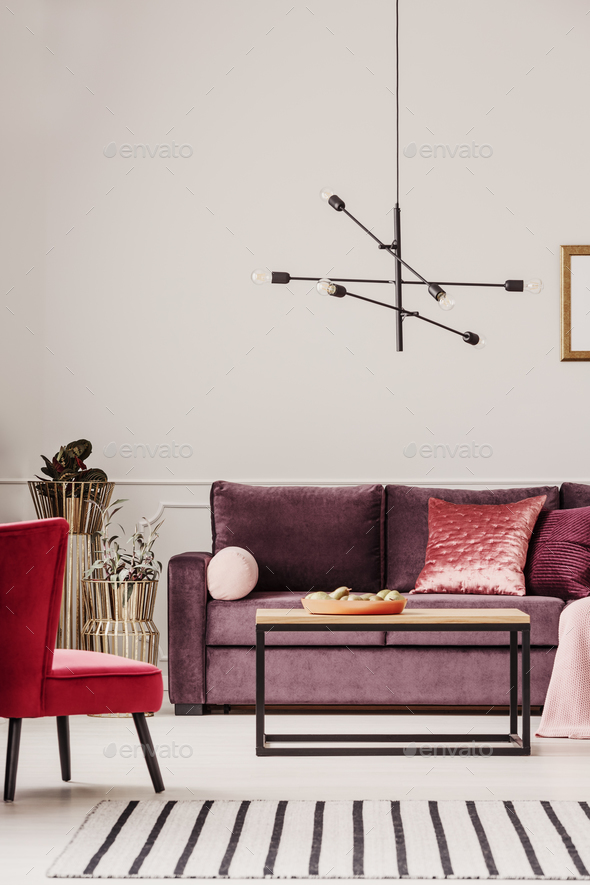 Purple living room interior - Stock Photo - Images