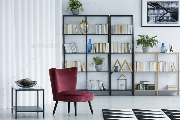 Library living room interior - Stock Photo - Images