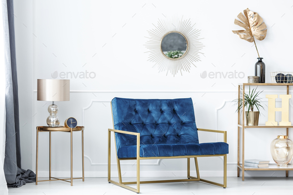Blue and gold living room - Stock Photo - Images