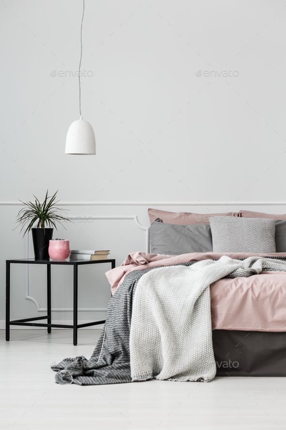Grey and pink bedroom interior - Stock Photo - Images