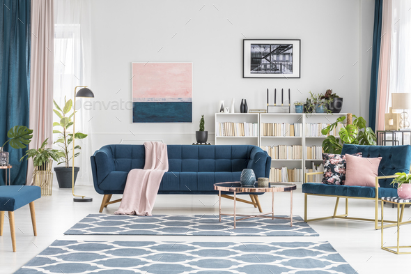 Pink and blue luxurious interior - Stock Photo - Images