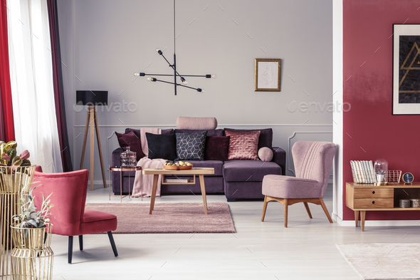 Warm red living room - Stock Photo - Images