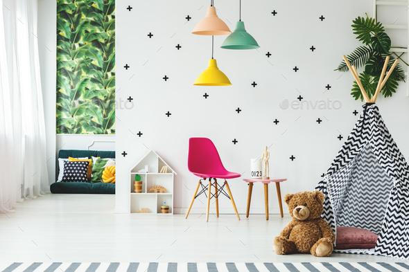 Tent in scandinavian child's room - Stock Photo - Images
