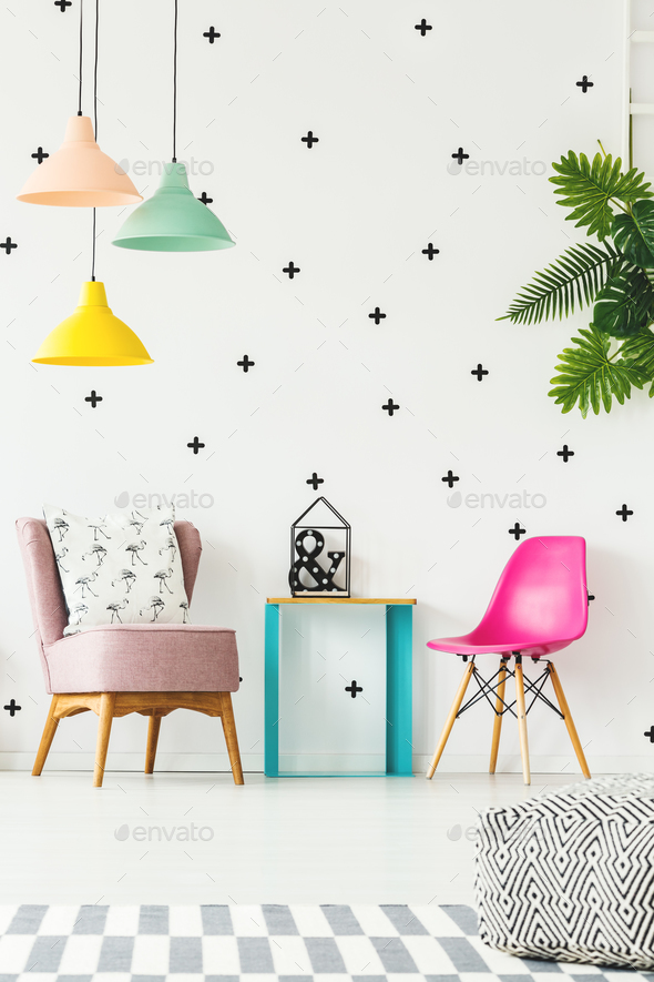 Colorful girl's room with chair - Stock Photo - Images