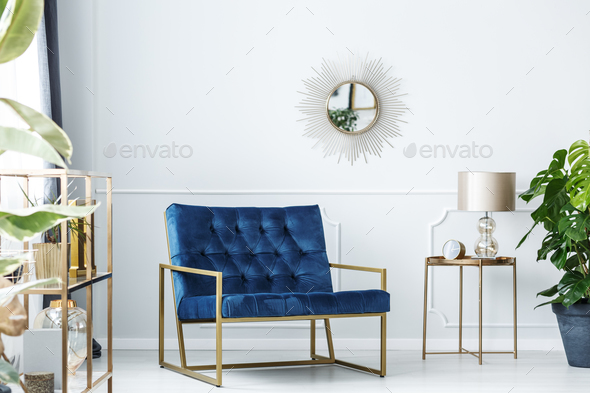 Navy blue living room - Stock Photo - Images