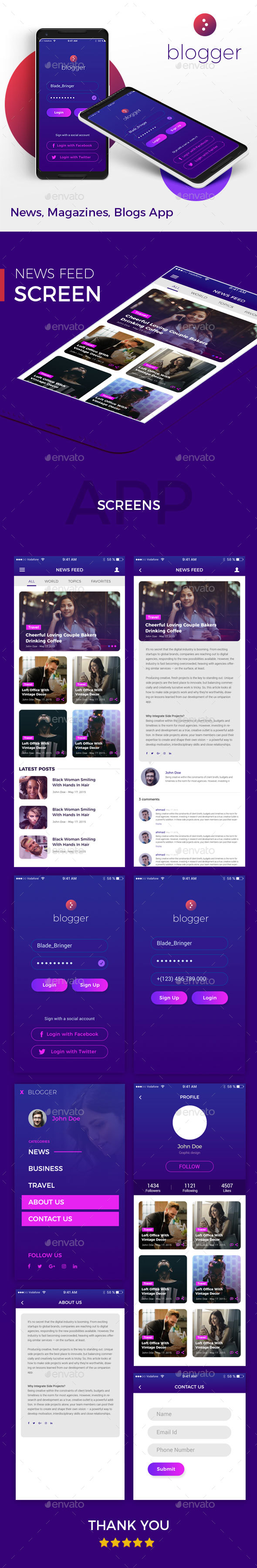 Blogger - News, Magazines, Blogs App - User Interfaces Web Elements
