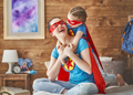 Girl and mom in Superhero costume - PhotoDune Item for Sale