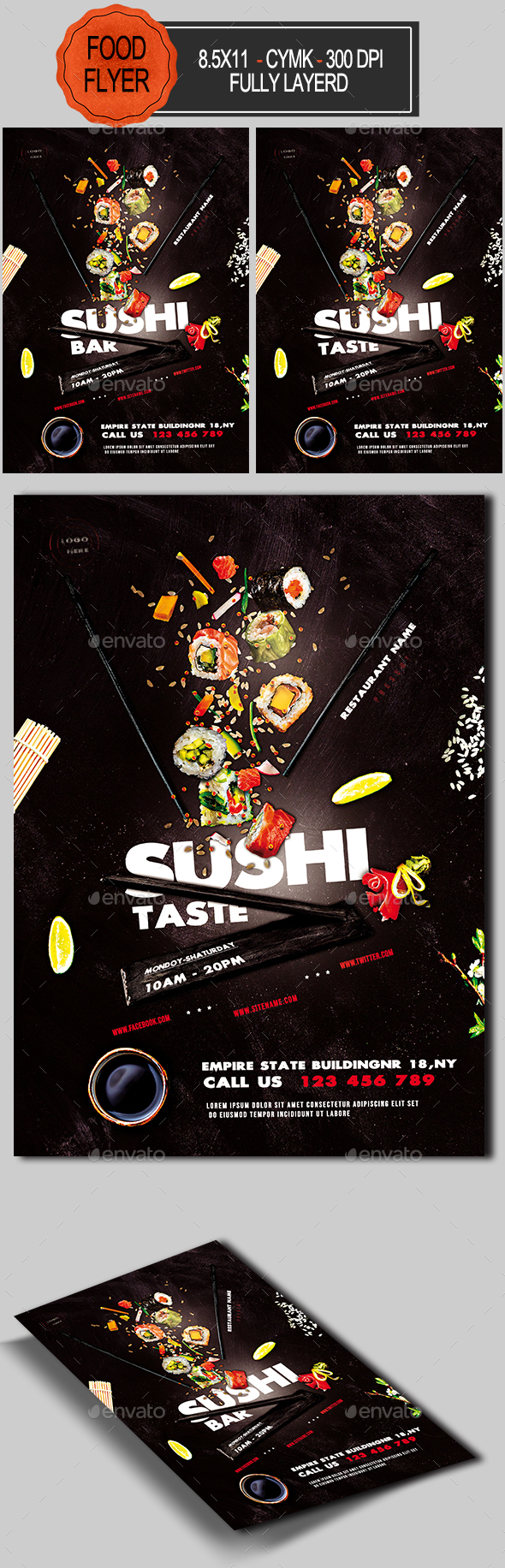 Sushi Promotion Flyer Template - Restaurant Flyers