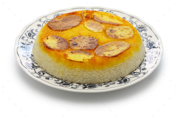 potato tahdig, iranian cuisine - Stock Photo - Images