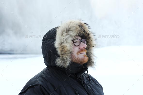 male winter portrait - Stock Photo - Images