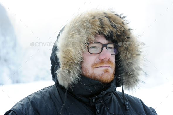 male winter portrait - Stock Photo - Images