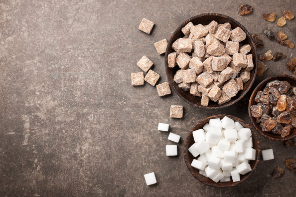 Various sugar in bowls - Stock Photo - Images