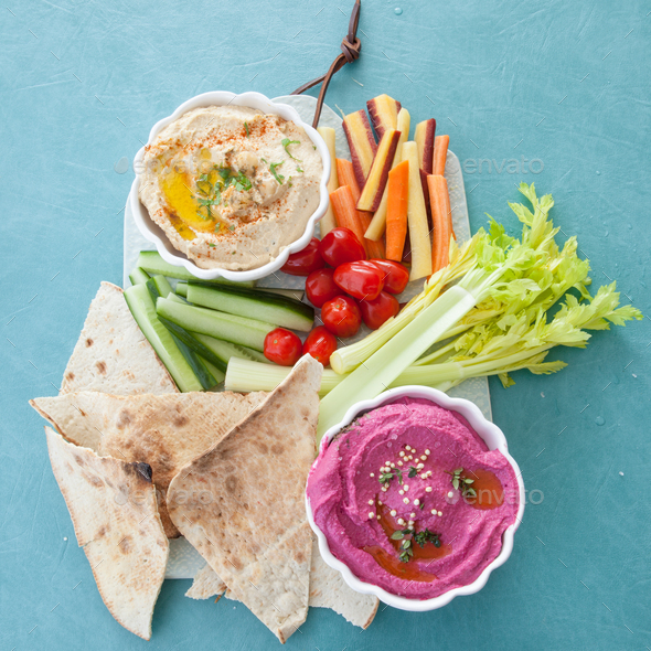 Hummus and fresh vegetables - Stock Photo - Images